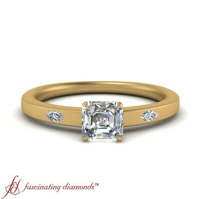 3/4 Carat Asscher Cut Diamond Past Present Future Engagement Ring In Yellow Gold