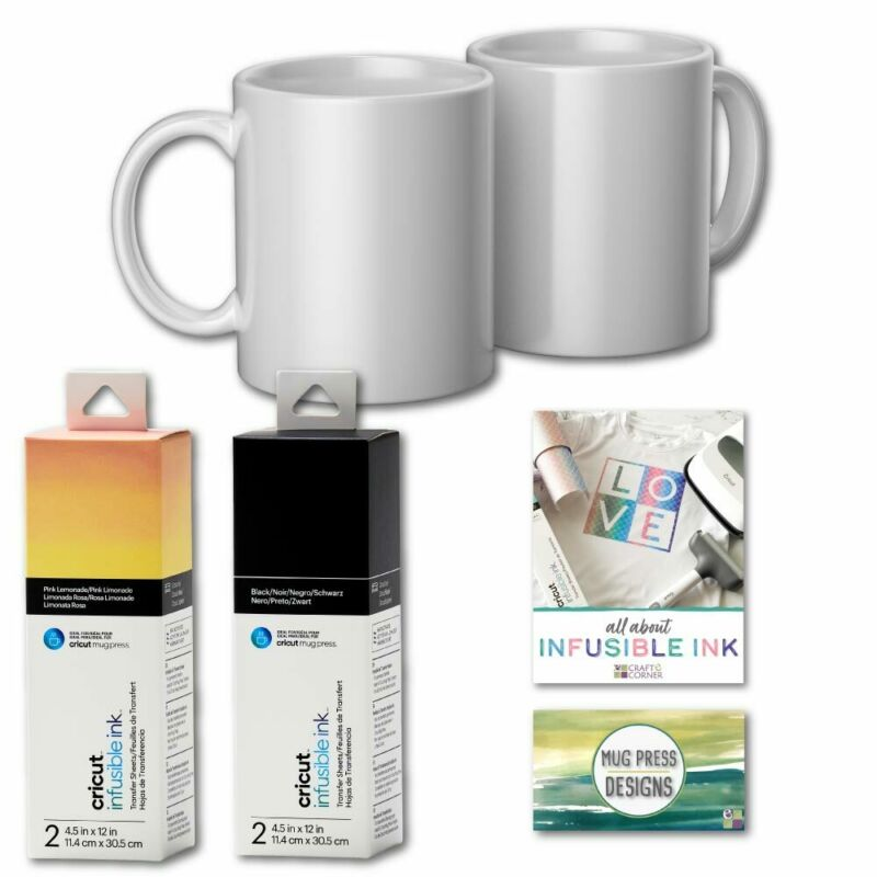 Cricut Ceramic Mugs for Mug Press, 12oz, Infusible Ink Sheets & Designs Bundle