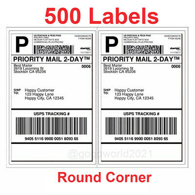500 Shipping Labels Rounded Corners 2 Per Sheet 8.5 X 11 Self Self Adhesive Us