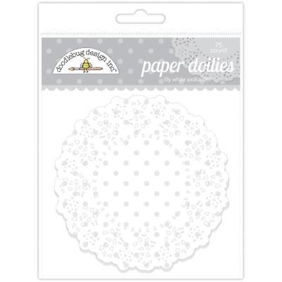 Doodlebug ~ PAPER DOILIES ~  Lily White Polka Dot - Lily White Doodlebug