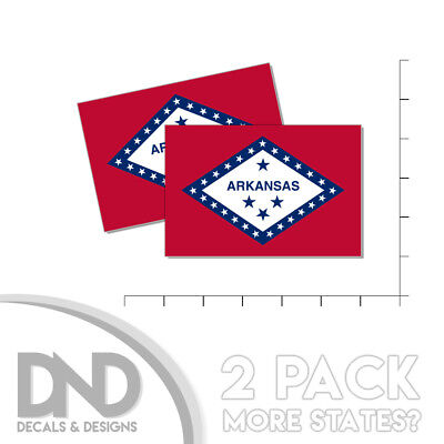Arkansas State Flag Sticker - Decal Bumper AR State Arkansan 2 Pack 5in Arkansas Ar State Flag