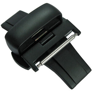 20mm-Matte-Black-PVD-Heavy-Gauge-Butterfly-Push-Button-Deployment-Clasp-Buckle