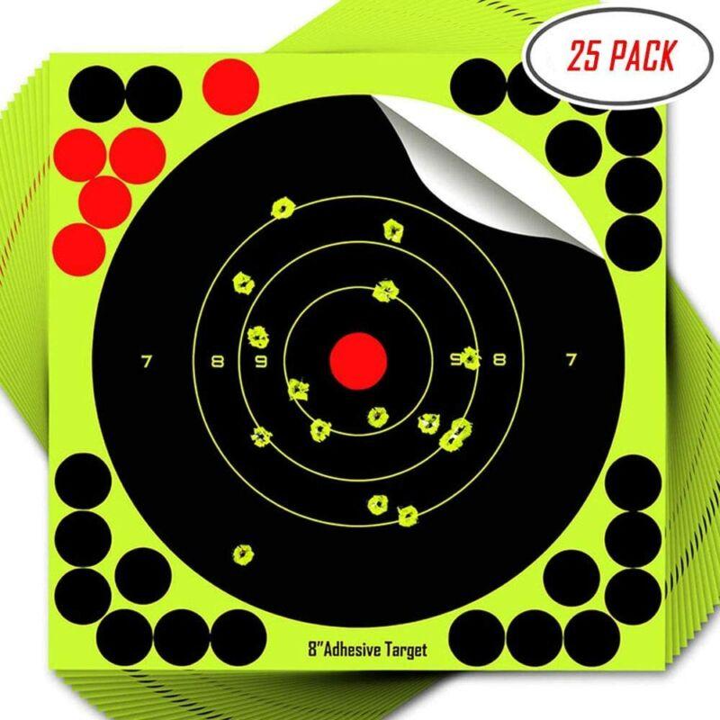 """25PK Shooting Targets Reactive Splatter 8"""" Adhesive Target Sticker Paper"""