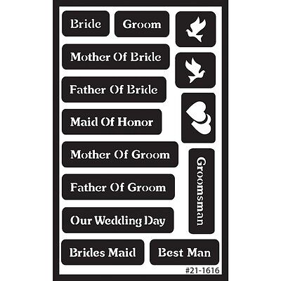 """Wedding Over N Over Stencil - Armour Reusable Sand Glass Etch 5""""x 8"""""""