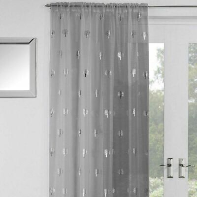 Birch Tree Curtains (GLITTERY SILVER SHIMMER FOIL BIRCH TREES  THICK GREY VOILE NET CURTAIN PANEL/S)