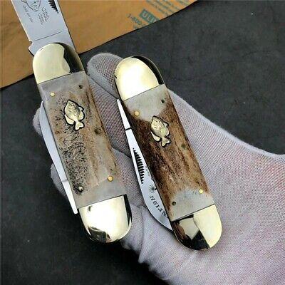 Sunfish Folding Knife Steel Blade Outdoor Multi-Function Antlers Brass Handle ED