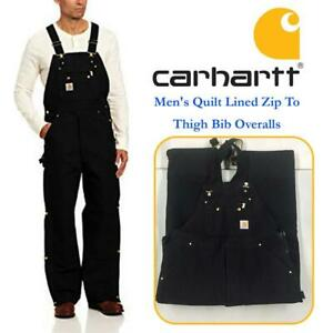 NEW Carhartt Mens Quilt Lined Zip To Thigh Bib Overalls Condtion: New, 36W x 32L, Black