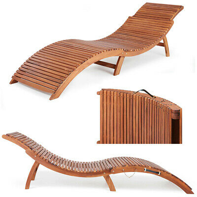 Folding Wooden Sun Lounger Ergonomic Deck Chair Foldable Comfortable Headrest UK