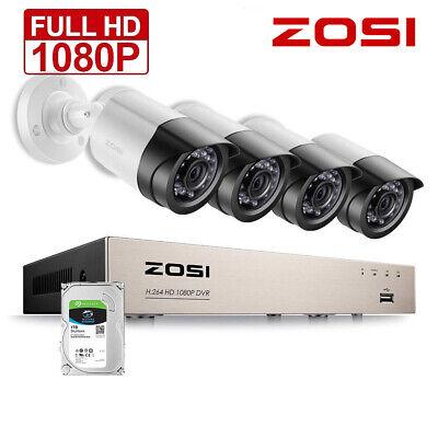 ZOSI 4CH 1080P Video Überwachungskamera 2MP DVR IR Set Sicherheit System 1TB