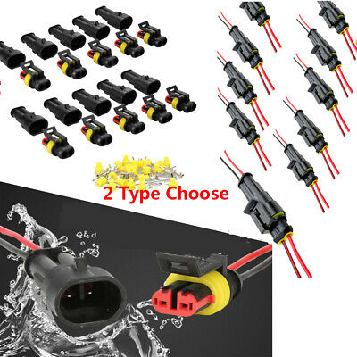 10x 2pin Way Sealed Waterproof Electrical Wire Connector Plug Car Auto Kit Cable
