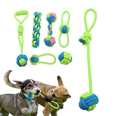 Braided Cotton Rope Ball Dog Toys Chew Knot Interactive Bitting Train Toy 7PCS