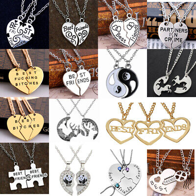 Best Friend Heart Silver Gold 2,3 Pendants Necklace Bff Friendship Gift