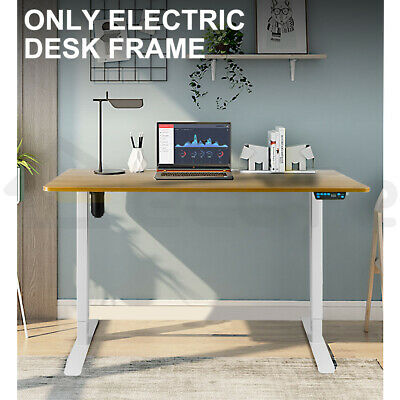 Electric Desk Frame Height Adjustable Single Motor Memory Touch Control White