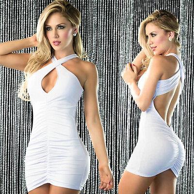Gathered Halter Mini Dress - Women's Revealing Gathered Front Mini Dress With Crisscross Halter Neckline