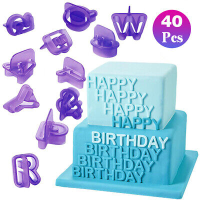 Plastic 40Pcs Alphabet Number Fondant Set Icing Cake Chocolate Cutter Mold Mould