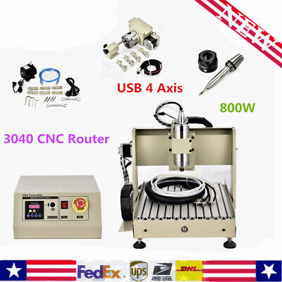 4 Axis 3040 Usb Cnc Router Engraver 800w Vfd Engraving Milling Machine B-screw
