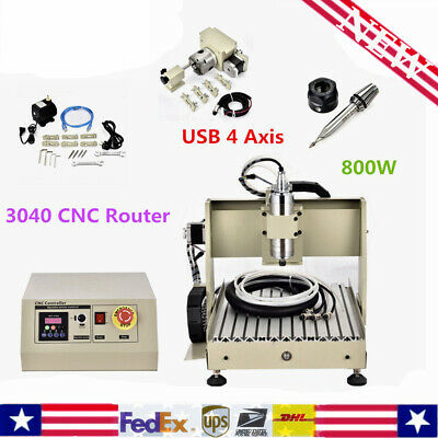 Usb 800w 4 Axis 3040 Cnc Router Engraver Milling Carving Wood Machine Carving