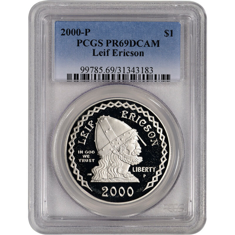 2000-P US Leif Ericson Commemorative Proof Silver Dollar - PCGS PR69 DCAM