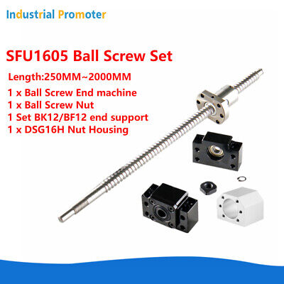 Cnc Ball Screw Set Rm1605 With Nut L250-2000mm Bkbf12 Support Nut Housing