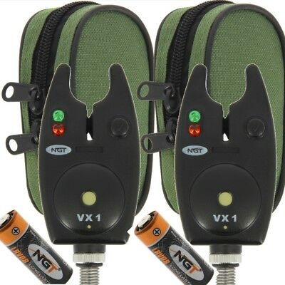 2 x Bite Alarms NGT VX1 for Carp Fishing Waterproof Black Alarms with Batteries