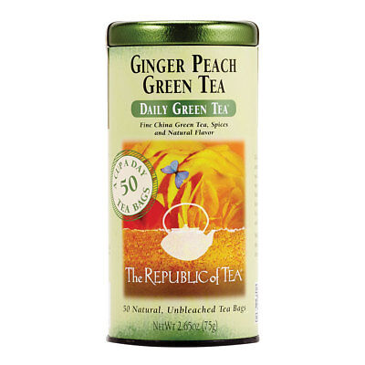 The Republic Of Tea Ginger Peach Green Tea, Caffeinated, Spicy Ginger Tea Gourme Ginger Peach Green Tea