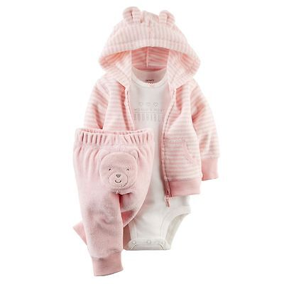 Carters 9 12 Months Terry Cardigan Pants Bodysuit Set Baby Girl Clothes Pink