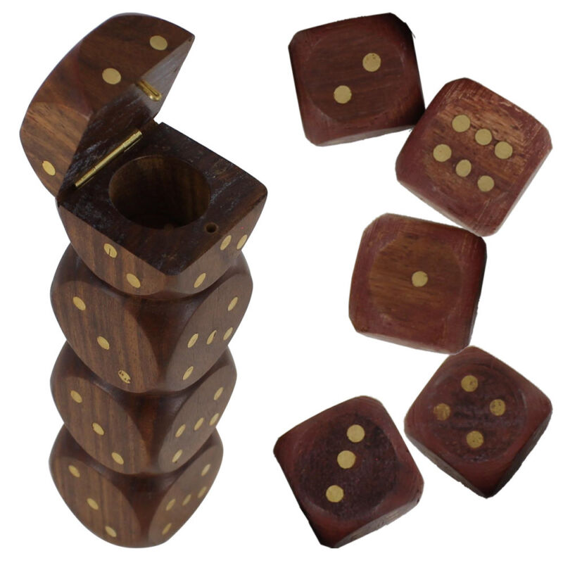 Handmade Traditional Down the Middle Wooden Dice Gaming Set