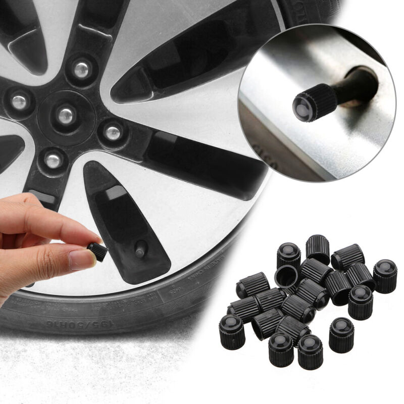 20x  Black Valve Tyre Dust Caps Car Bike Cycle Wheel Tire Valves Cover Universal