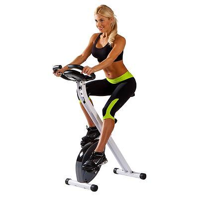 Marcy Foldable Upright Exercise Bike | NS-652 Stationary Compact White Bicycle