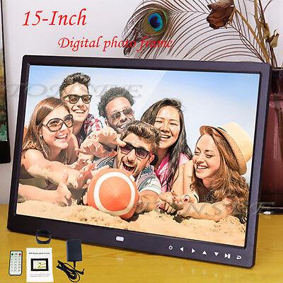 "15"" Inch HD 16:9 Digital Photo Frame Picture LED Alarm Clock MP4 SD USB TXT file"