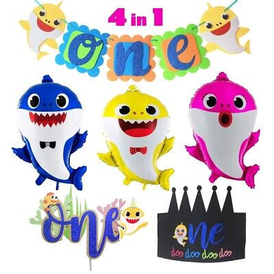 Baby 1 Birthday Party Theme (Baby Shark Theme 1st Birthday Party Decoration Set Balloons Banner Cake)