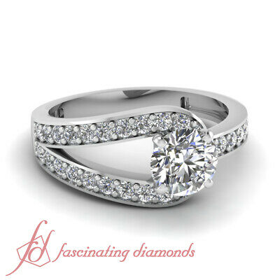 White Gold Pave Set Diamond Engagement Ring With Round Cut GIA Certified 0.70 Ct