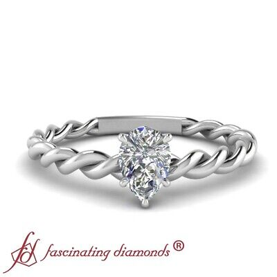 1/2 Carat Solitaire Twisted Rope Style Diamond Rings With Center Pear Shaped GIA