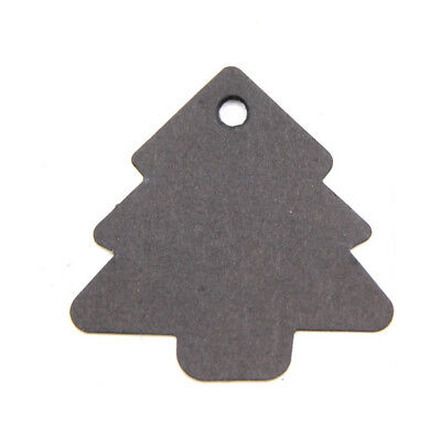 100 X  Black Kraft Paper Christmas Tree Gift Parcel Tags Label Luggage + Strings