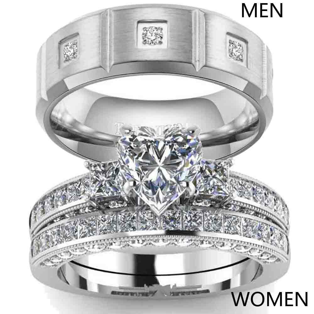 Couple Rings Titanium Steel CZ Mens Band Ring Heart CZ Women