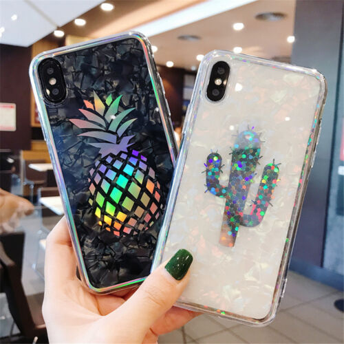 For iPhone XS X 8 6s 7 Shockproof Hybrid TPU Bling Glitter Pattern Case Cover