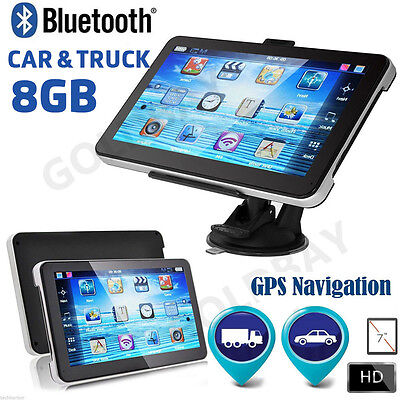 "7"" 8GB Bluetooth AV-IN Truck Car GPS Navigation Lorry HGV Sat Nav FM UK EU Maps"