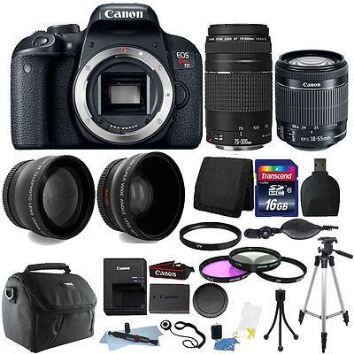 Canon EOS Rebel T7i 24.2MP DSLR + 18-55 IS STM + 75-300mm Lens + 16GB Pack