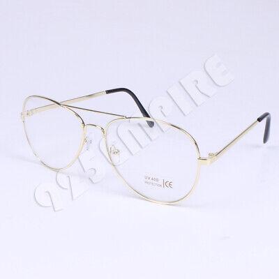 Clear Lens Aviator 14K Gold Glasses Fashion Eyewear Retro Vintage (Clear Gold Aviator Glasses)