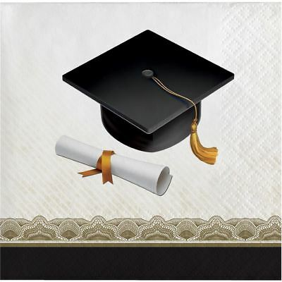 Black Gold Cap and Gown 16 ct Beverage Napkins Graduation Diploma - Black And Gold Napkins