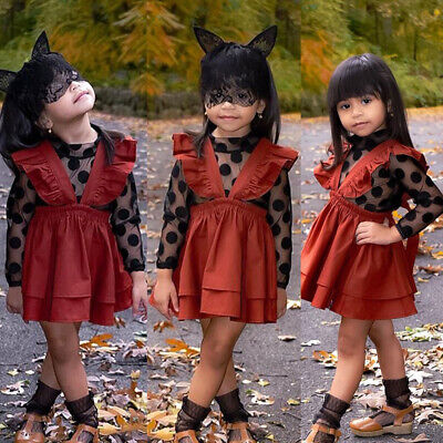 US Halloween Kids Baby Girl Lace Tops Shirt Suspender Skirt Dress Outfit Clothes
