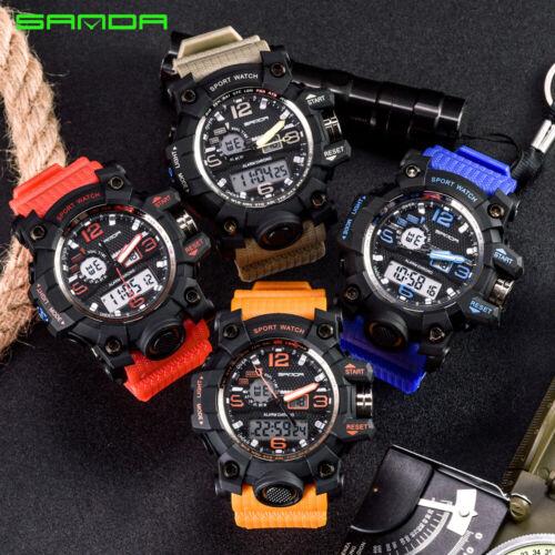 SANDA Mens Fashion Military Quartz Digital Tactical Sport An
