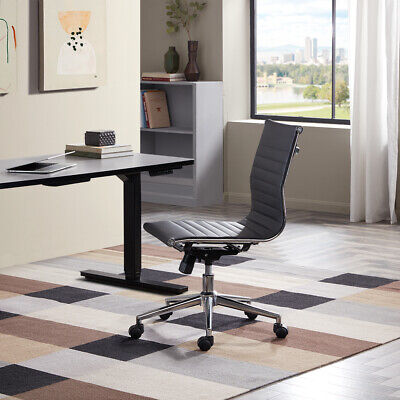 Adjustable Mid-back Armless Office Task Chair Faux Leather Ribbed Swivel Black