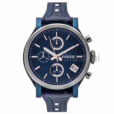 Fossil Original ES4113 Women's Boyfriend Sport Blue Leather Watch 38mm Chrono