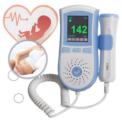 Fetal Doppler Lcd Color Pocket Prenatal Heart Rate Baby Sound 3mhz Sensor