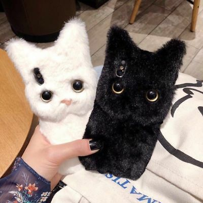 3D Lovely Cat Faux Fur Soft Plush Fluffy Case Cover For iPhone Xs Max X 6 7 8