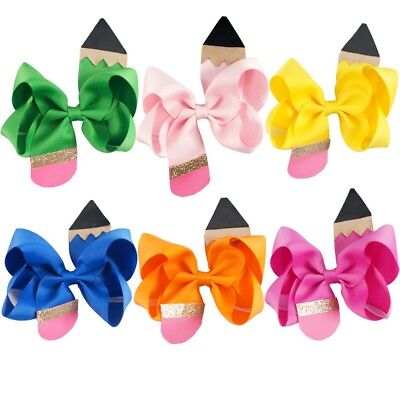 4.5inch Back to School Hair Bow With Clip For Girls Kids Boutique Pencil - Boutique For Kids