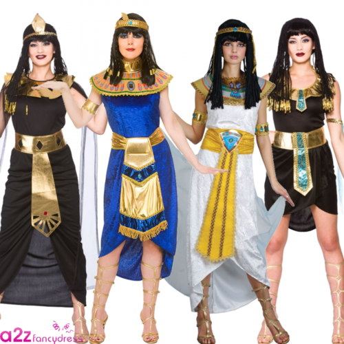 Ladies Princess Cleopatra Costume Blue Egyptian Queen Adult Ancients Fancy Dress