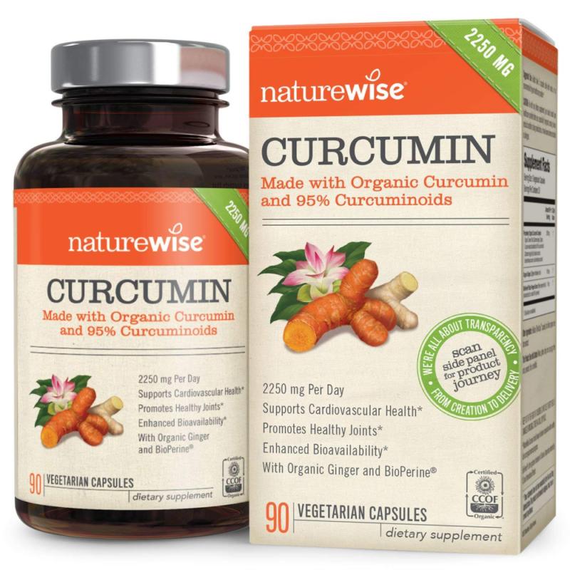 NatureWise Curcumin Turmeric 1650mg with 95 Curcuminoids & B