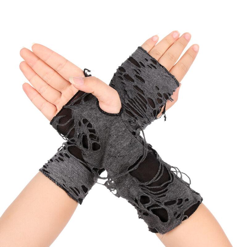 Long Fingerless Arm Warmer Hole Punk Mittens Halloween Gloves Beggar Style